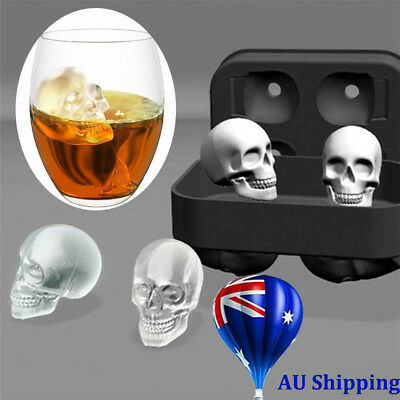 Whiskey Silicon Ice Cube Maker Mold Mould 3D Skull Brick Halloween Party Tray MN