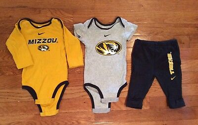 Nike Missouri Tigers 3-6 months 1 pants and 2 one piece