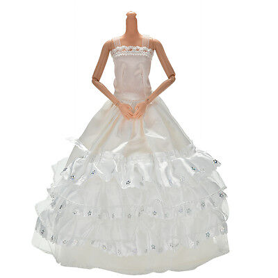"""Lovely 1 Pcs White Sequin Handmade Wedding Lace 3 Layers Dress for 11"""" Barbies"""