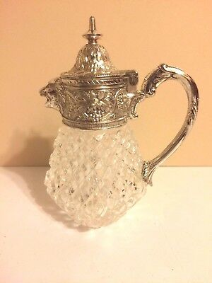 Vtg Diamond Cut Crystal Gass Silver Plate Creamer Pitcher Lion Head Pour Spout