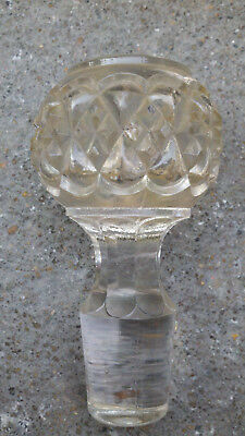 Pressed Glass LIQUOR BOTTLE STOPPER VINTAGE Early Mid 20th Century CLEAR HEAVY