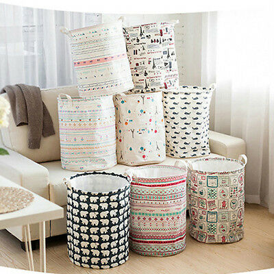 Cotton Lien Foldable Storage Laundry Hamper Clothes Basket Washing Bag Home