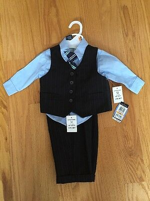 NWT Nautica Baby Boy 4 Piece Suit Vest Pants Shirt and Tie Set Size 12 M Formal