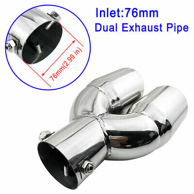 "Dual Rear Exhaust Pipe 3"" 76mm Inlet Car Accessory Tail Muffler Silencer Cover"