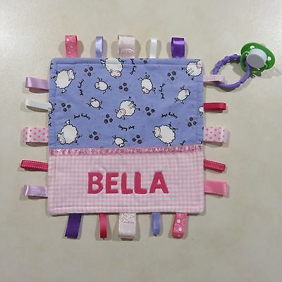 Baby Girls Personalised Taggy Security Blanket - BELLA -  SAMPLE AS SHOWN ONLY