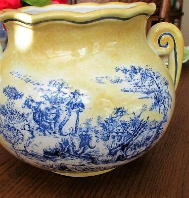 "RARE! Maxcera,Twin-Handled,Glazed Ceramic Pot,Blue Toile Design On Yellow,11""x8"""