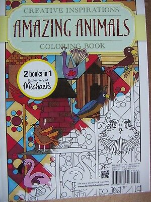 Creative Inspirations Amazing Animals Coloring Book 2 In 1 New