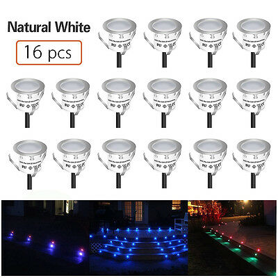 16xLED Bulbs Deck Light Garden Stair Mall Outdoor Lamp Kit Natural White φ22mm