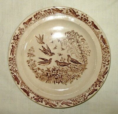 Antique Stoneware Brown Transferware Plate - Aesthetic Period - Golden Rod