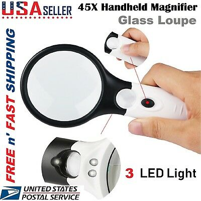 100x Handheld Jewelry Magnifying Glass Reading Lens 3 LED Light Loupe US Stock