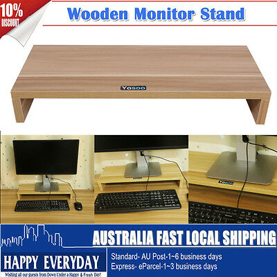 Monitor Stand Desktop LCD LED PC Monitor Riser Organizer Wooden Display Rack NEW