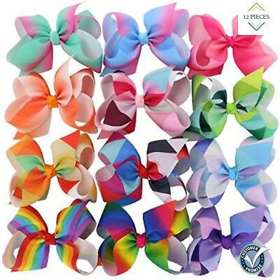 BIG Grosgrain Ribbon Boutique 6inch Rainbow Hair Bows Clips Set Of 12 NEW