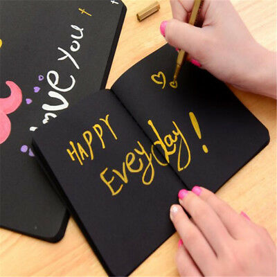 new Black Paper Notebook Sketch Graffiti Drawing Painting Stationery 2 Sizes