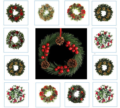 20/30/50cm Christmas Wreath Garland Door Wall Home Hanging Decorations For Xmas