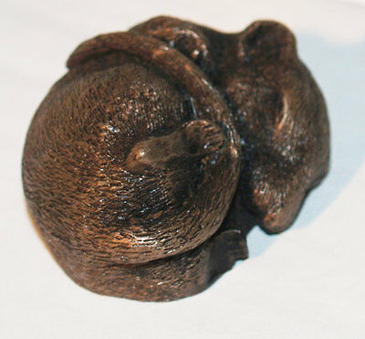 Doormouse (Sleeping) - Cold Cast Bronze Resin Sculpture by John Rattenbury