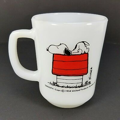 Snoopy Peanuts Fire King I'm Allergic To Morning Coffee Cup Mug Anchor Hocking