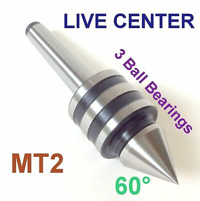 1 pc Lathe MT2 Live Center MORSE TAPER #2 /2MT Triple Bearings Lathe Center sct