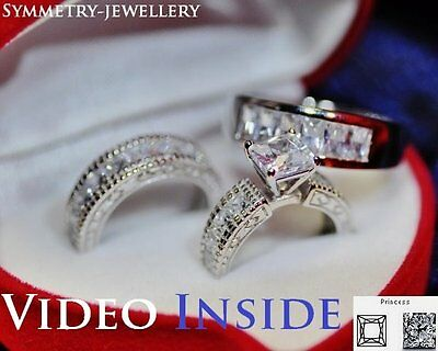 3.69 Carat Created Diamond Engagement Ring Set Real 925 Sterling Silver