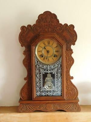 ANSONIA AMERICAN GINGERBREAD MANTLE CLOCK ~ STRIKING 8 DAY MOVEMENT G.W.O c1890