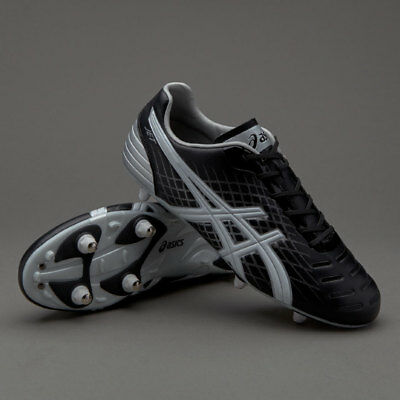 Asics Jet ST Black White Silver 140623 9001 Rugby Boots Size UK  7 8 9 10
