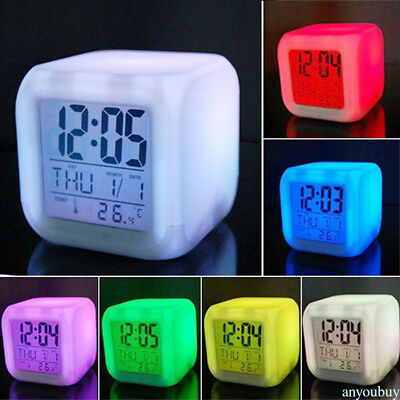 LED Change Digital Glowing Morning Alarm Clock Cube Multi-Funtional 7 Colors