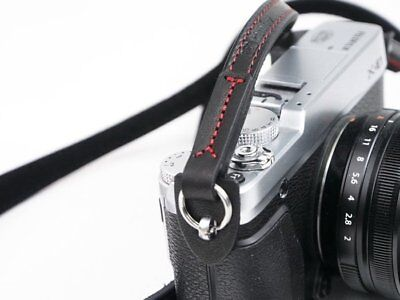 Black Leather Camera Strap with soft backing and ring connection by Cam-in