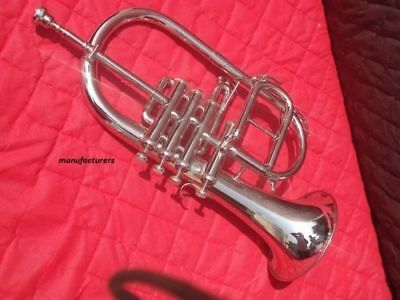lowest price flugel horn 4 valve chrome finish with case 3 days delivery