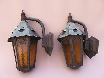 "Antique Pair Copper Arts and Crafts 12"" T Outdoor Lighting Fixture Sconce Lamps"