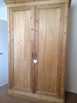 French Antique Pine Double Knock Down Wardrobe