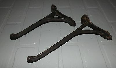 2 Antique Cast Iron Hooks Coat Hat Horse Bridle Primitive Salvage