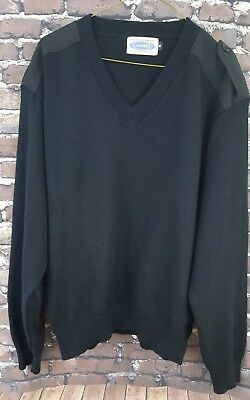 COBMEX Mens Sweater Pullover Size M Black Elbow Patch Long Sleeve Acrylic