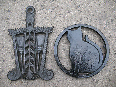 Vintage Cast Iron Trivet Black Cat Broom Wheat Heart Harvest Wiccan Wall Hanging
