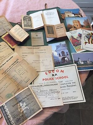 WWII DOCUMENTS Prayer Books 1941 Displaced Person Lithuania German scrapbook