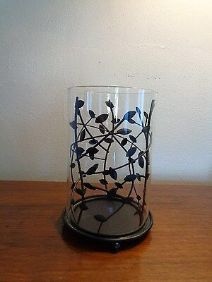 Clear Glass Cylinder Candle Holder with Leaf Details ~ Lamp Tube