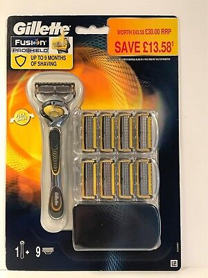 Gillette Fusion Proshield Flexball 9 Blade + 1 Stick New And 100% Genuine