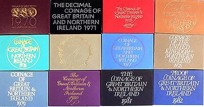 Coinage of Great Britain and Northern Ireland proof sets 1970 - 1982 decimal LSD