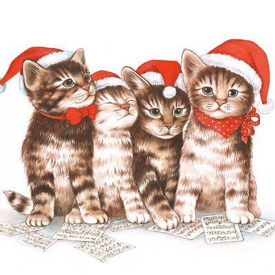 Ambiente 3 Ply Paper Lunch Napkins Serviettes Christmas Singing Cats Kitten Xmas