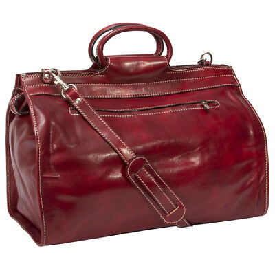 0147cc82169 Alberto Bellucci Italian Calf Leather Travel Tote Duffel Bag Red Men s  Accessory