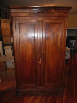 "Antique French LOUIS PHILIPPE Walnut Armoire Beautiful Wood H 91"" x W 52"" 1850's"