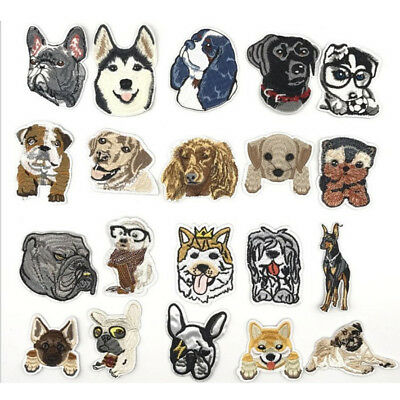 New Embroidered Dog Husky Pitbull Patch Sew On Iron on for Children Clothing DIY