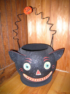 Vintage 1990's Halloween Large BLACK CAT Glittered Bucket JOL W/Handle Dept 56