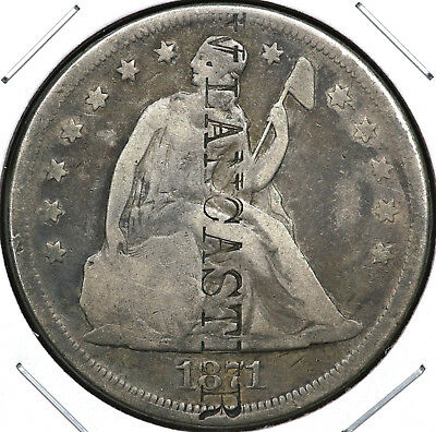 "1871 Seated Liberty One Dollar With ""w. Lancaster"" Counterstamp"