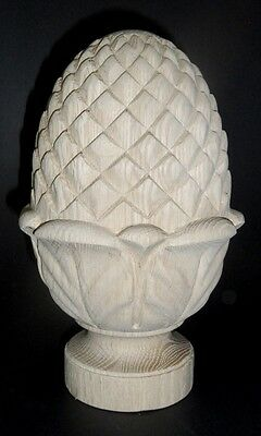 Hand carved wooden pine apple finial