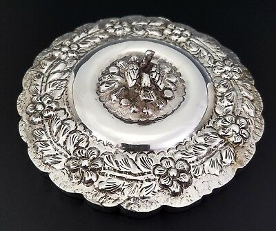 Ornate Antique Ottoman Islamic Persian Egyptian Silver Mirror W/ Bird Finial