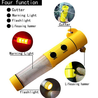 Car Emergency Hammer with Auto Windows Breaker Belt Cutter Beacon LED Flashlight