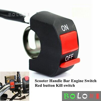 """Kill ON/OFF Red Button Engine Switch For 7/8"""" Handlebar ATV Dirt Bike Scooter"""