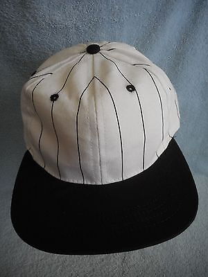 Vintage Duckster Baseball Cap Hat USA Black White Stripe Adjustable One Size