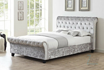 Casablanca Hfe Crushed Velvet Double & King Size Bed In Grey Brand New