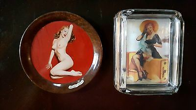 Vintage Marilyn Monroe Serving Tray & Pin Up Glass Ashtray