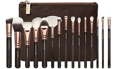 15PCS Make up Brush Set Foundation Eye face Brushes + Zipper Bag Rose Gold